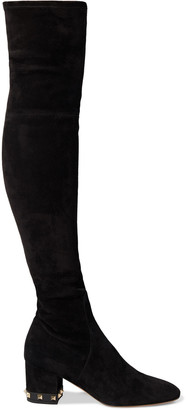 Valentino Rockstud Stretch-suede Over-the-knee Boots