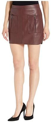 BCBGMAXAZRIA Faux Leather Mini Skirt (Bittersweet Chocolate) Women's Skirt
