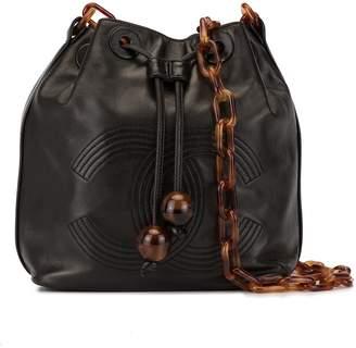 Chanel Pre-Owned Tortoiseshell chain drawstring shoulder bag