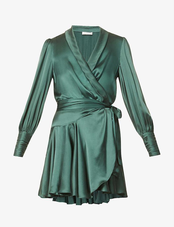 Zimmermann Ruffled silk-charmeuse mini wrap dress