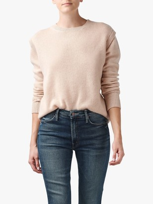 360 Sweater Mila Frill Shoulder Detail Crew Neck Cashmere Jumper, Light Pink