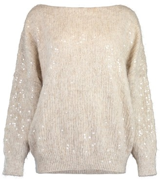 Brunello Cucinelli Wet Effect Embroidered Boatneck Pullover