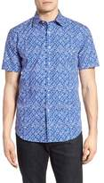 Bugatchi Shaped Fit Abstract Print Sport Shirt