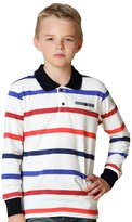 Leo&Lily Little Boys' Long Sleeves Striped Cardigan Polo Shirt Red