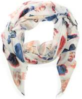 Daniel Light Weight White Heart Print Scarf