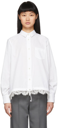 Sacai White Lace Hem Shirt