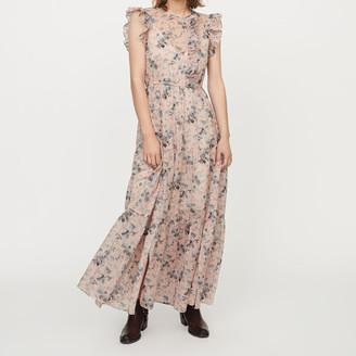 Maje Long printed-cotton voile dress