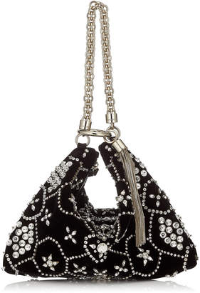 Jimmy Choo CALLIE Black Suede Clutch Bag with Star Crystal Embroidery