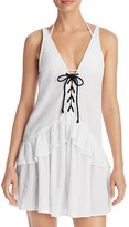 MinkPink Lace Up Frill Dress Swim Cover-Up