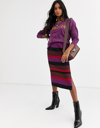 Ichi stripe knitted midi skirt