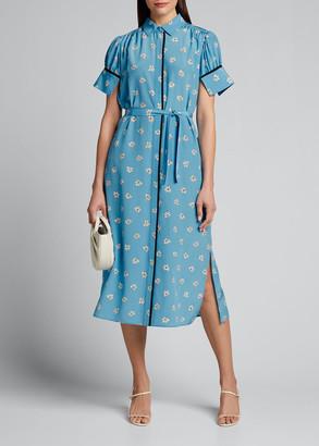 Jason Wu Floral Printed Short-Sleeve Silk Shirt Dress