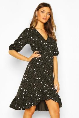 boohoo Leopard Print Button Mini Shift Dress