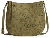 Elle & Jae Gypset Cutwork Faux Leather Crossbody Hobo - Green
