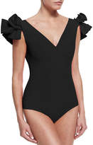 Chiara Boni Belvisette V-Neck Two Rose One-Piece Swimsuit