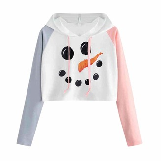 MOTOCO Women's Sweater Hoodie Casual O-Neck Plus Size Christmas Print Ladies Splicing Long Sleeve Pullover with Front Pockets(S