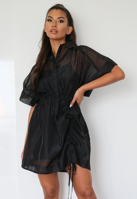 Missguided Black Organza Ruched Shirt Dress
