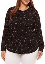 Liz Claiborne Banded Color Frame Shirt- Plus