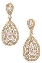 Adriana Orsini Pave Crystal Small Pear Drop Earrings/Goldtone