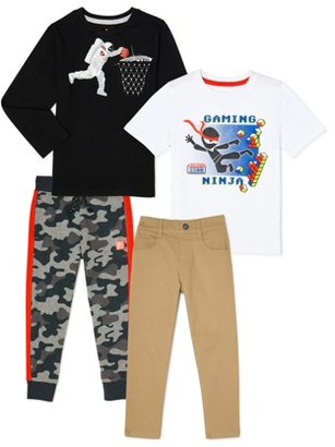 365 Kids From Garanimals Boys Graphic T-Shirts, Woven Pants & Sweatpants, 4-Piece Outfit Set, Sizes 4-10