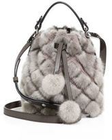 MICHAEL Michael Kors Extra Small Mink Fur & Leather Bucket Bag
