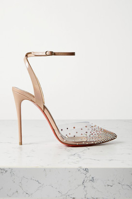 Christian Louboutin Spika Queen 100 Crystal-embellished Pvc And Leather Pumps - Beige