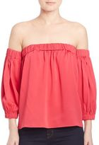 Milly Solid Off-The-Shoulder Silk Top