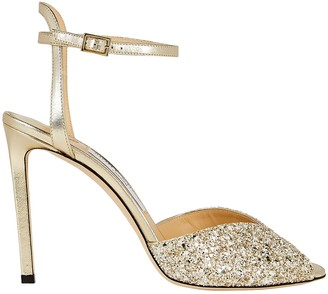 Jimmy Choo Sacora Metallic Glitter Sandals