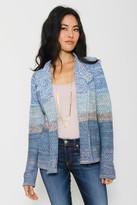 Goddis Monroe Asymmetrical Zip Knit Jacket In California Blue