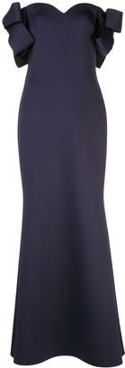 Badgley Mischka Bow Sleeve Mermaid Dress