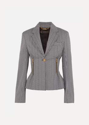 Versace Houndstooth Cotton-blend Blazer - Black