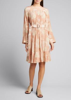 Chloé Floral Print Silk Crepe de Chine Dress