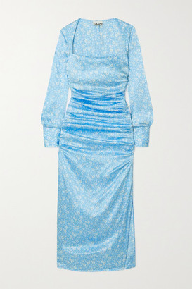 Ganni Ruched Floral-print Stretch Silk-satin Midi Dress - Blue