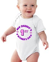NanyCrafts Baby's My Daddy's 1st Father's Day Round Baby Girl bodysuit 6M
