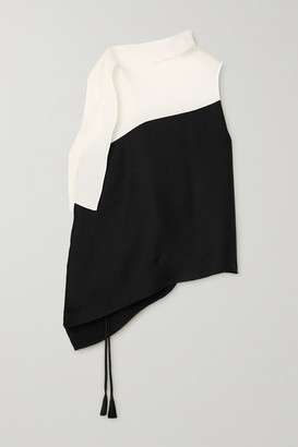 Roland Mouret Tavistock Draped Two-tone Hammered Stretch-silk Top - Black