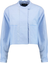 Ellery Cliff cropped embroidered cotton-poplin shirt