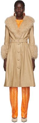 Saks Potts Beige Shearling Foxy Coat