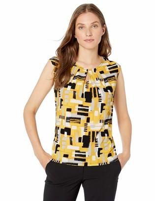 Kasper Women's Plus Size Short Sleeve Scoop Neck Brushstroke Printed ITY