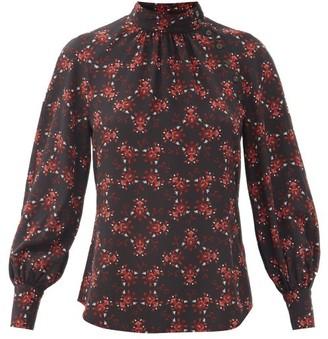 Cefinn Alicia Floral-print Silk Crepe De Chine Blouse - Black Red