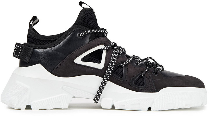 McQ Orbyt Leather, Nubuck And Mesh Sneakers