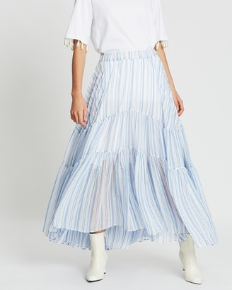 Romance Was Born Louis Stripe Tier Skirt