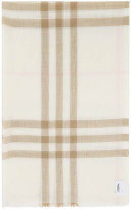 Burberry Off-White Wool Check Scarf