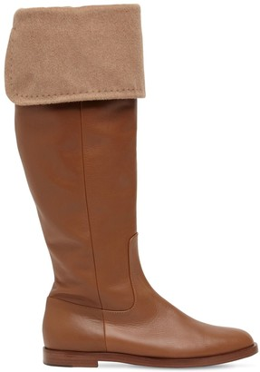 Max Mara 20mm Brigg Fold-Over Leather Tall Boots