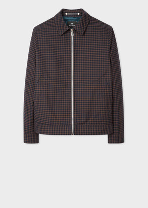 Paul Smith Men's Navy And Brown Check Cotton Short Jacket