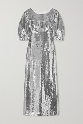 Huishan Zhang Alessia Sequined Crepe Gown - Silver