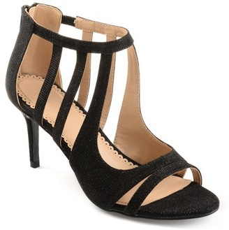 Brinley Co. Women's Glitter Open-toe Cut-out Caged Heels
