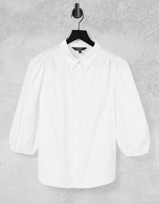 Lipsy puff sleeve shirt in white