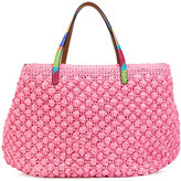 Ermanno Scervino rainbow strap tote - women - Raffia/Calf Leather - One Size