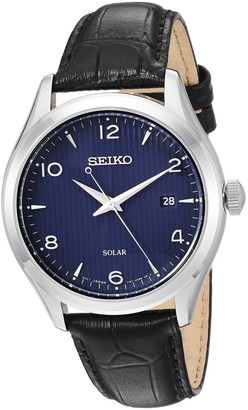 Seiko Men's Dress Stainless Steel Japanese-Quartz Watch with Leather Calfskin Strap
