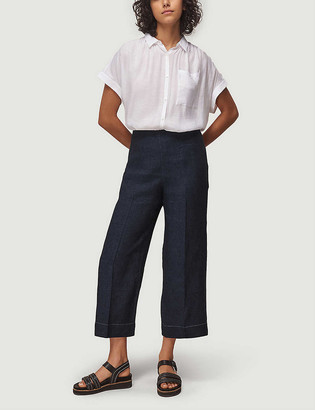 Whistles Cropped wide high-rise linen trousers