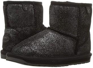 Emu Wallaby Mini Metallic (Toddler/Little Kid/Big Kid) (Black) Kid's Shoes